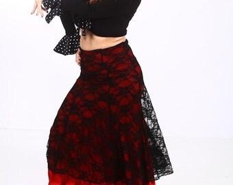 CARMEN Skirt ,Flamencita design, Professional Flamenco top long skirt. Tribal fusion.