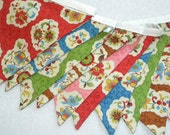 Free US Shipping/Floral Fabric Banner/Vintage Style Fabric Banner/Fabric Flags/Photo Prop/Birthday Party/Banner/Bunting