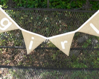 Free USA Shipping/Girl Photo Prop Fabric Banner/Vintage Style Fabric Banner/Fabric Flags/Photo Prop/Birthday Party/Burlap Banner/Bunting