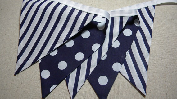 Blue Nautical  Fabric Photo Prop Banner/Fabric Banner/Fabric Flags/Photo Prop/Birthday Party/Nursery Banner/Bunting