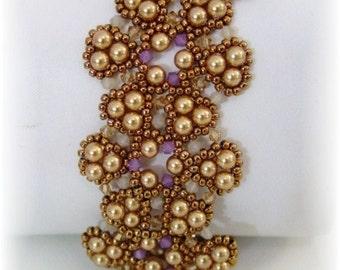 Beadwork Bracelet - Gold Bronze Lavender Beadweaving - Beaded Beadwoven Jewelry