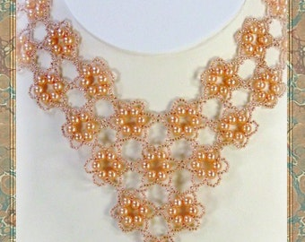 Beadweaving - Beadwork - Pearls in Peach Beadwoven Necklace - Seed Bead Jewelry