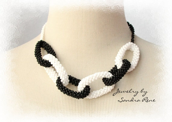 Beadwork Necklace - Beadwoven Art Deco - Black and White Beadweaving, Seed Bead Jewelry