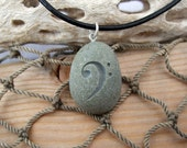 Bass Clef Music necklace engraved on Beach Stone Pendant