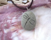 Dragonfly on engraved Beach Stone Pendant - symbol of Renewal, Positive force and Power of Life necklace