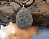 Om symbol - Natures first Breath necklace - Engraved Beach Stone Pendant Jewelry