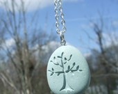 Tree of Life - Natures Mother - Seafoam Green Beach Stone Pendant with top drilled Bail and chain