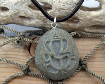 Ganesh a symbol of Prosperity necklace - engraved Beach Stone Pendant - Lord of Good fortune talisman of positivity