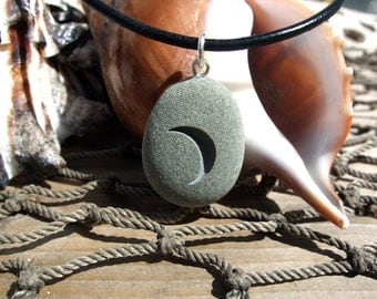 New Moon rising - an engraved Beach Stone Pendant - optimism, fresh starts and new beginnings necklace