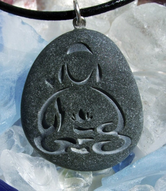 Buddha with Lotus pendant engraved on Beach Stone - a symbol of peace and serenity necklace