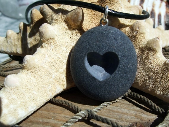 i Heart u - engraved Beach Stone Pendant - A lover of Love necklace