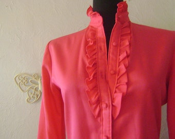 Raspberry ruffle blouse