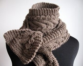 Taupe Heather Cable and Lace Vegan Scarf Knitted Scarf Beige Scarf Mens Cable Scarf-Christmas in July christmasinjuly - KnitsByNat