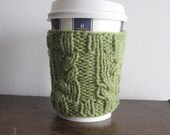 Fern Green Garden Path Cable Coffee Cup Cozy Green Coffee Sleeve Eco Friendly Cozy Knit Cup Cozy