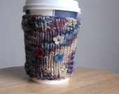 Steel Blue Multicolour with Flowers Coffee Cup Cozy Vegan Yarn