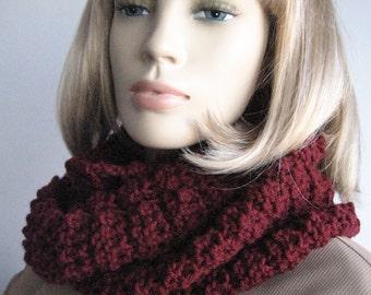 Burgundy Knit Cowl Knit Infinity Scarf Oxblood Circle Scarf