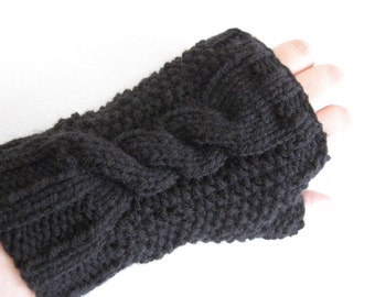 Black Cable and Seed Stitch Knit Fingerless Mitts, Vegan Mittens, Knit Texting Gloves, Gift For Her, Hand Knit Accessories