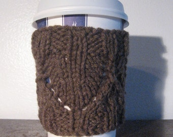 Taupe Heather Pointed Chevron Knit Coffee Cup Cozy, Brown Knit Coffee Sleeve, Mason Jar Cozy