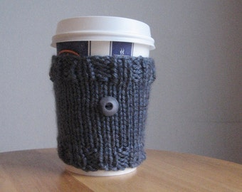 Denim Blue with Button Knit Coffee Cup Cozy Vegan Cozy Knit Coffee Sleeve Blue Jeans