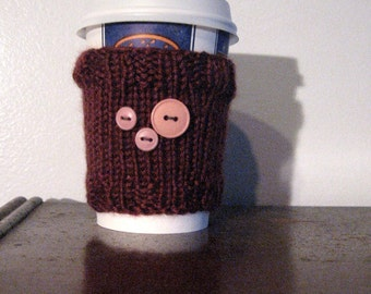 Burgundy with Buttons Coffee Cup Cozy, Mason Jar Cozy, Burgundy Cozy, Knit Coffee Sleeve