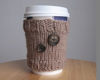 Soft Taupe 2-Button Knit Coffee Cup, Cozy Knit Cup Cozy, Knit Coffee Sleeve, Taupe Coffee Sleeve