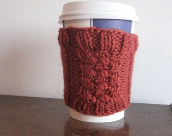 Rust Tight Braid Cable Vegan Coffee Cup Cozy
