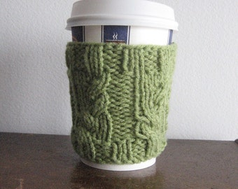 Fern Green Garden Path Cable Coffee Cup Cozy, Coffee Cozy, Green Coffee Sleeve, Eco Friendly Cozy Knit Cup Cozy
