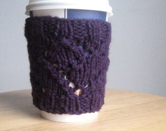 Eyelet Purple Coffee Cup Cozy, Knit Coffee Sleeve, Knit Cup Cozy, Vegan Yarn, Mason Jar Travel Mug