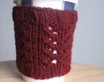 Burgundy Crabwalk Knit Coffee Cup Cozy, Vegan Knits, Knit Coffee Sleeve, Knit Mug Cozy, Knitted Tea Coxy, Coffee Cozy