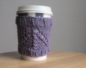 Lavender Knit Coffee Cup Cozy, Valentine Day, Travel Mug Cozy, Knit Coffee Sleeve