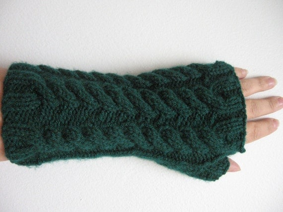 Emerald Green Fingerless Mitts with Cables Vegan Yarn Texting Gloves Hand Knit Accessories