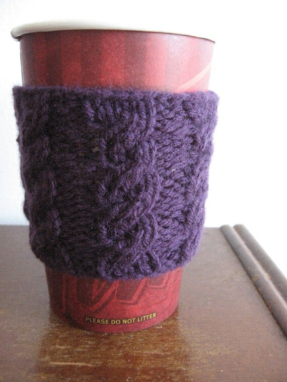 Purple Cabled Knit Coffee Cup Cozy, Vegan Knits, Knit Coffee Sleeve, Travel Mug Cozy