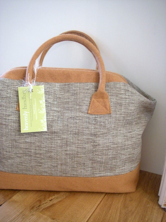 Modern Carpet Bag in Fleck Cotton and Mustard Wool