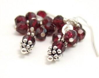 Earrings of Garnet and Silver
