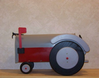 Gray and Red Tractor Mailbox