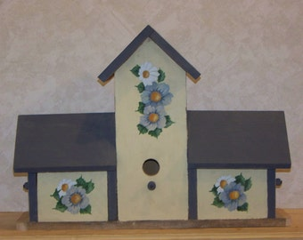 Four Compartment Hand Painted Birdhouse