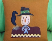 Scarecrow Pillow - Fall - Hand Painted