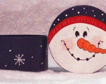 Snowman Hand Painted Gift Box Christmas OOAK