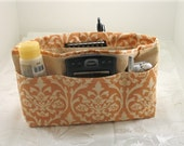 Purse Organizer Insert- Peach and Beige Damask Print- Medium-Great Gift for her