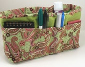Purse Organizer Insert-Green and Pink Paisley Print - Medium Pictured- 5 sizes available.