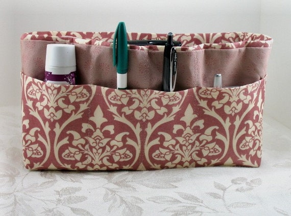 Bag and Purse Organizer Insert with Enclosed Bottom -Mauve and Cream Damask - Large -