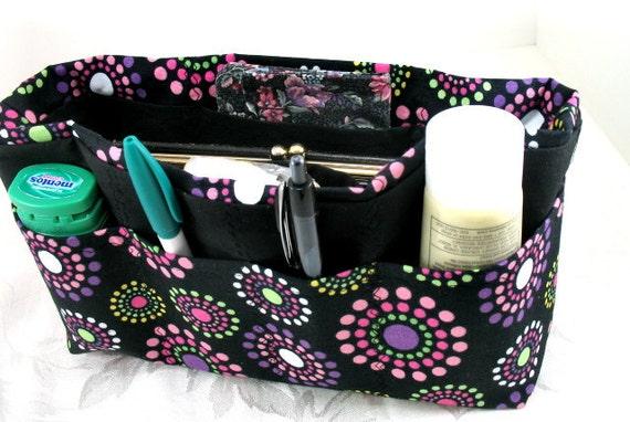 Purse Organizer Insert - Multi Color Circles on Black-  last of this fabric -Medium- Ready to ship-