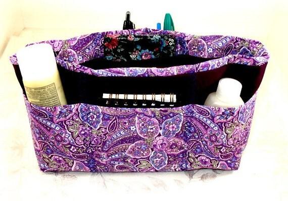 Purse Organizer Insert- Shades of Purple Paisley - Medium -
