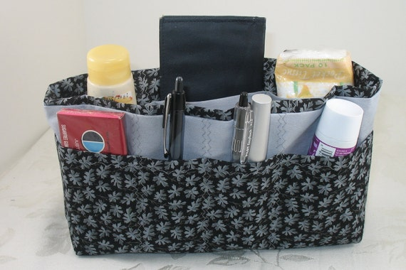 Bag and Purse Organizer Insert - Gray Leaves on Black -Five Sizes Available - Made to Order - Medium Shown