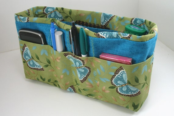 Bag and Purse Organizer Insert with Enclosed Bottom -Blue Butteflies Large - check listing for options