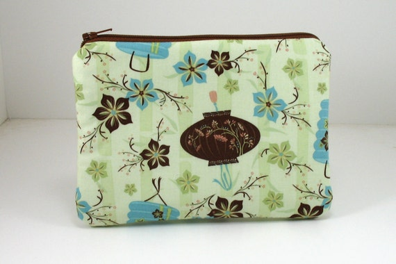 Zipper Pouch  -Ready to Ship -  Gadget Case - Coin Purse - Green and Brown Asian Print