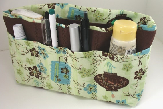 Purse Organizer Insert- Green /Brown Asian  Print- Medium- See listing for zipper pouch to match/Great Gift