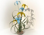 Mothers Day Special Sky Blue and Bright Yellow Origami Ikebana by Paper Disciple