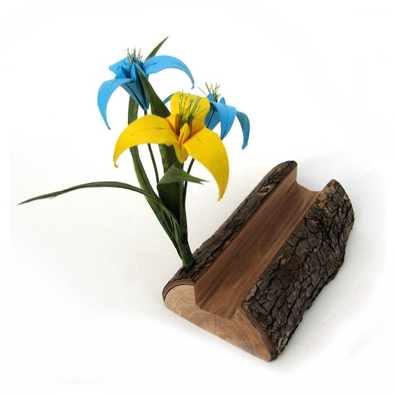 Natural Wooden Organic Rustic Origami Businesscard Holder by Paper Disciple and Tanja Sova