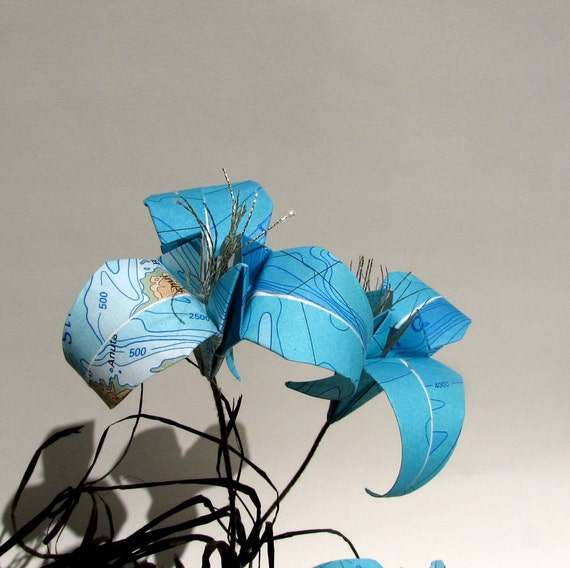 Let The Ocean Guide You - Map Origami Ikebana by Paper Disciple